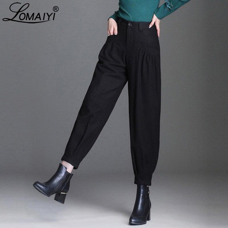 Lomaiyi quente outono/inverno calças de perna larga para as mulheres soltas harem calças de escritório mulher calças de cintura alta lady bw045