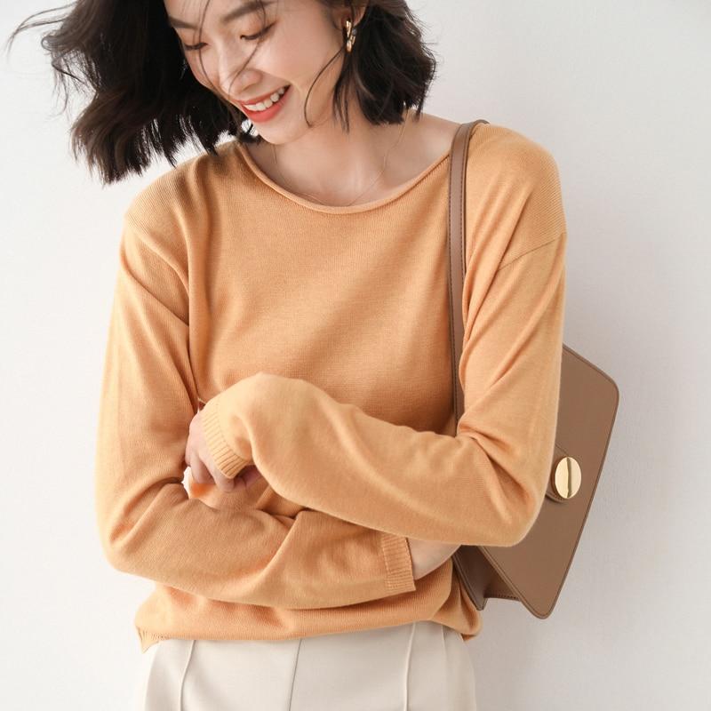 Camisola de caxemira feminina inverno outono quente pullovero-pescoço à moda de malha de mangas compridas curto elegante jumper moda senhoras jaqueta