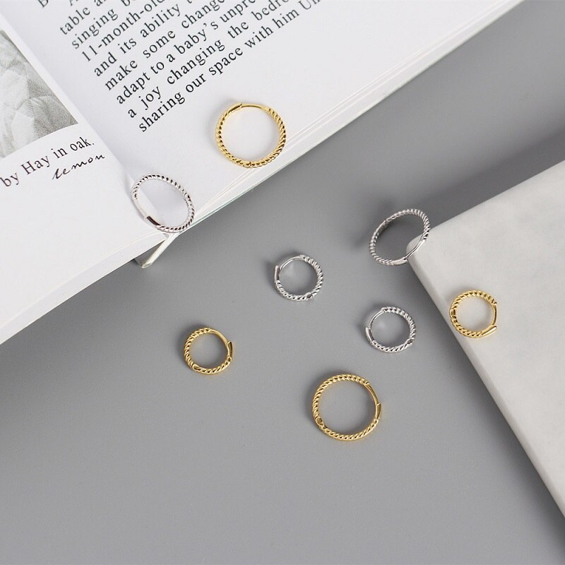 Simple Small Hoop Earrings for Women Twisted Lines Circle 100% 925 Sterling Silver Earrings Ear Rings Clip Huggie Earrings A30