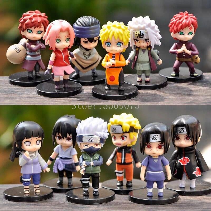 12pcs Naruto Anime Figure Uzumaki Sasuku PVC Action Figures Sakura Kakashi Gaara Miniature Anime Figurines Collection Model Doll