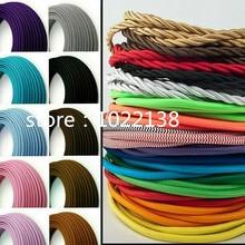 3 fils 0.75mm2 tissu recouvert de tissu cordon lumineux Vintage 3 fils fil électrique Textile cordon dalimentation Flexible