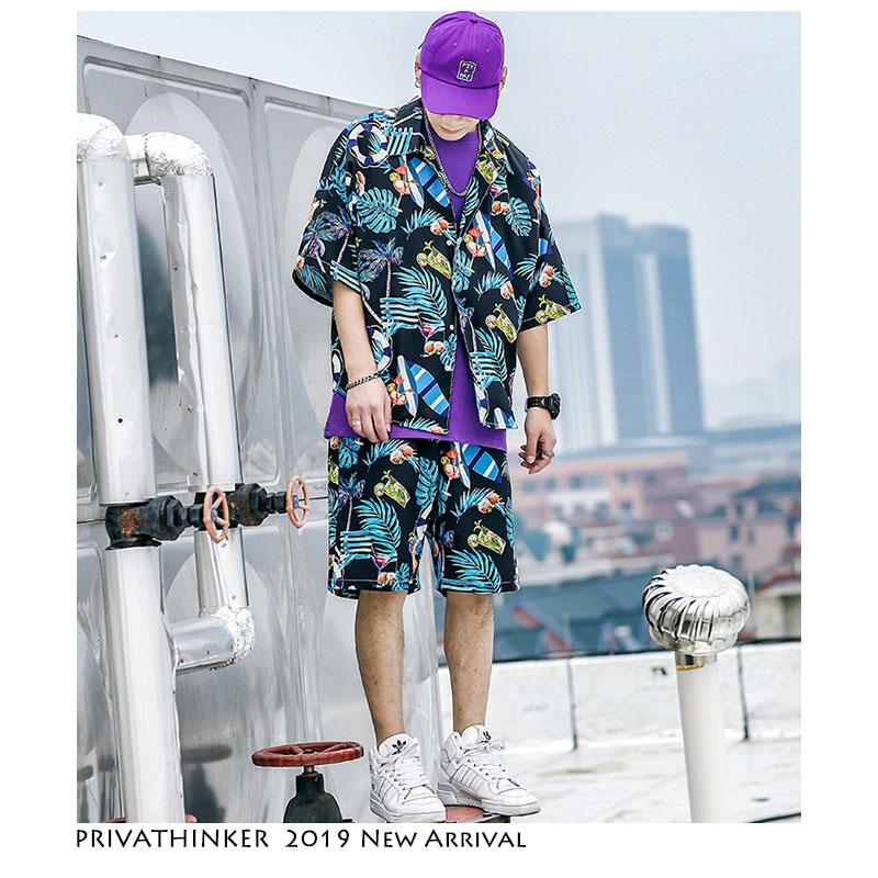 Privathonker Mens Short Sleeve Shirts Shorts Summer Boho Style Man Beach Suits Harejuku Streetwear Male Clothes