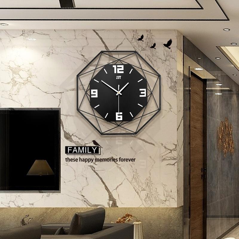 Diámetro 35CM Moda Nórdica reloj Reloj de pared habitación reloj creativo hogar Decoración de Metal reloj de cuarzo Digital