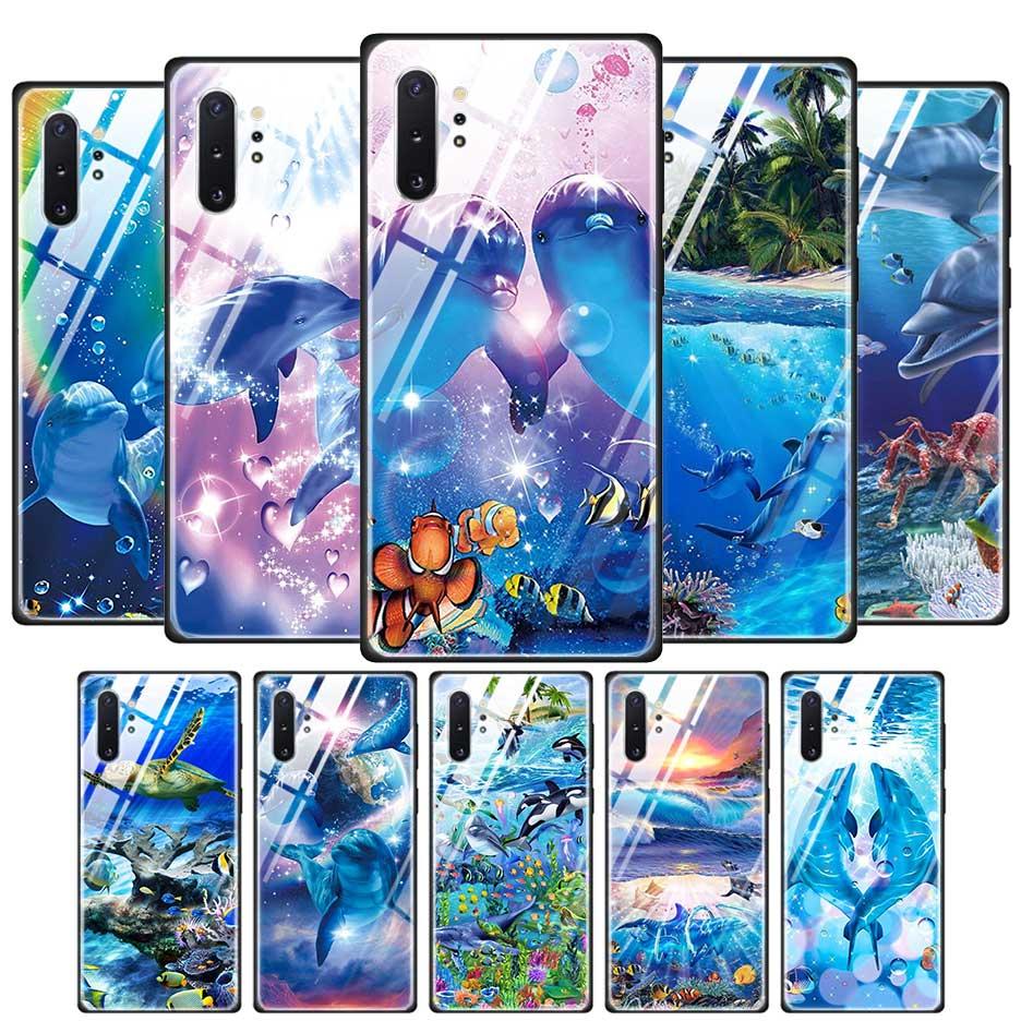 Caso de telefone de vidro temperado para samaung galaxy s20 s10 s8 nota 9 10 105g plus tpu borda macia oceano golfinho dança