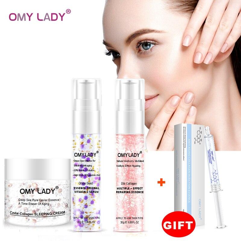 3 pçs omy lady grapeseed essência vitamina c soro creme de rosto líquido essência atraso envelhecimento reduzir rugas hidratante da pele