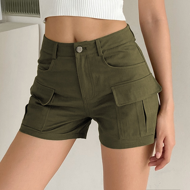 2021 summer new tooling Shorts New Army Green High waist pocket straight woven pants for women y2k p