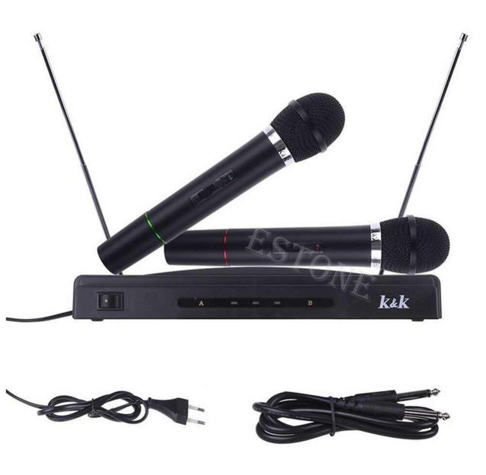 Handheld sem Fio Sistema de Microfone sem Fio Duplo Microfones Receptor Profissional 2