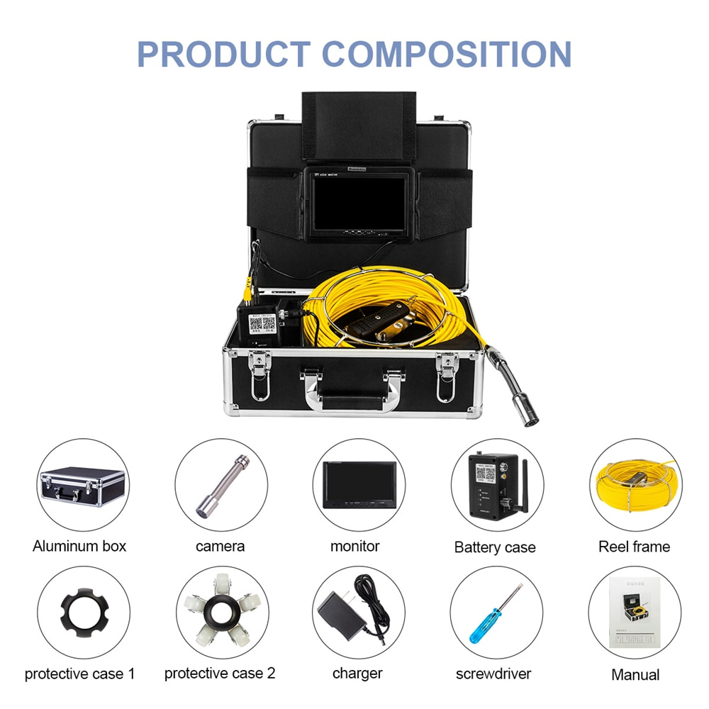 Pipe Inspection Camera, SYANSPAN 7 Inch Monitor Sewer Industrial Endoscope Wireless WiFi Support Android/IOS 20/50/100M