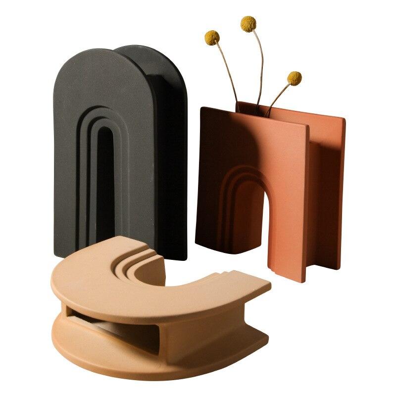 Nordic Art Geometric Vase Creative Ceramic Living Room Desktop Modern Vase Home Decoration Accessories Flowers Vases Gift Ideas