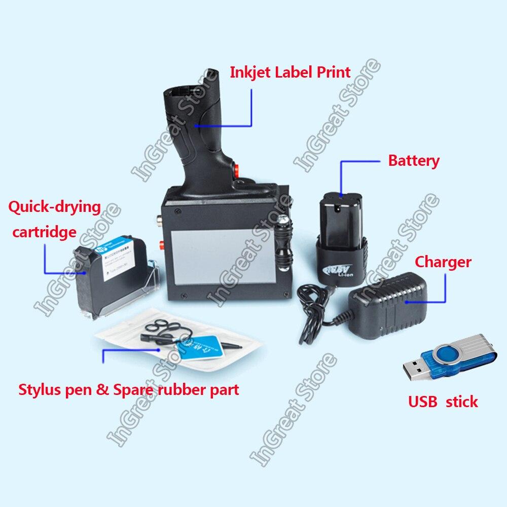 Handheld Inkjet Printer Touch Screen Laser coder Label Print Machine 600DPI 12.7mm USB QR Code QR Bar code Production Date logo