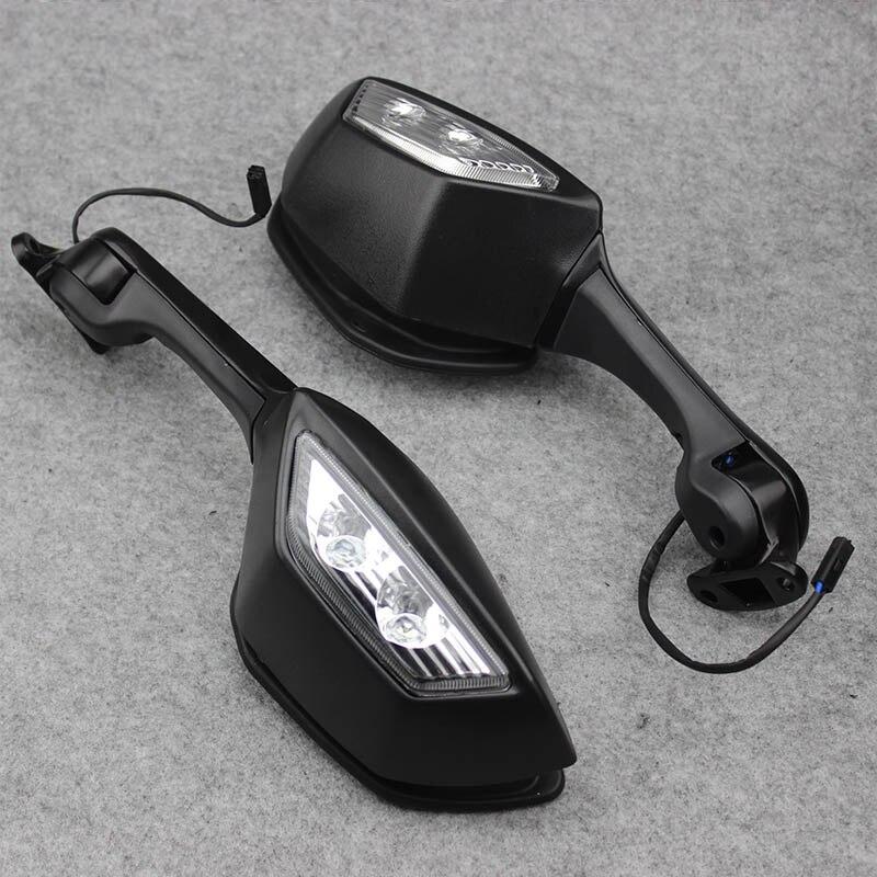 ل كاواساكي النينجا ZX10R ZX-10R ZX 10R 2011-2015 2014 دراجة نارية مرآة LED بدوره ضوء إشارات موتو الرؤية الخلفية مرايا الرؤية الخلفية