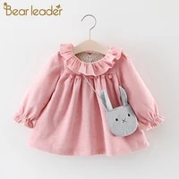 bear leader girl autumn solid clothes baby girls pure cotton butterfly sweet dresses 2pcs princess dress with rabbit shape bag