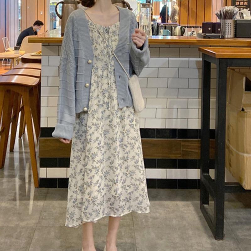 Delikatna 2021 sukienka kwiatowa damska elegancki, szykowny sweter w szpic sukienka kwiatowa dla kobiet jesienno-zimowy garnitur