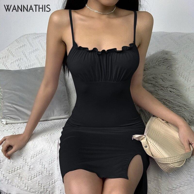 Wannathis sexy cinta de espaguete mini vestidos slash neck ruched split hem sem costas babados elástico magro sem mangas vestidos casuais