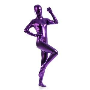 Custom exotic Zentai Suit womens Unitard colorful Catsuits Metallic Footed Zipper Zentai Bodysuit Dancewear Hoodless