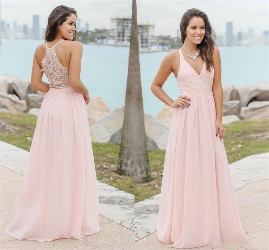Элегантные розовые шифоновые платья для подружек невесты, летние пляжные официальные платья подружки невесты, дешевые свадебные платья по ...