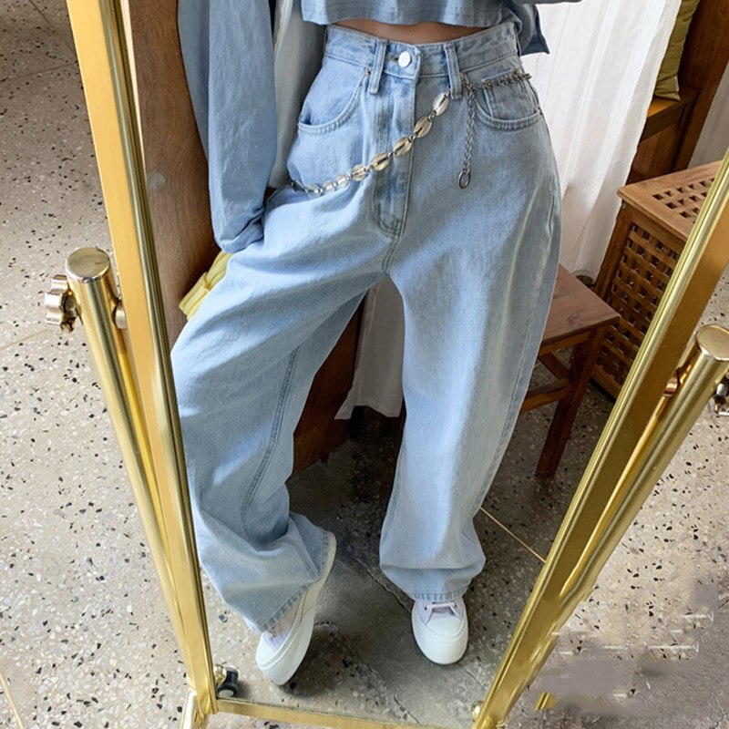2021 Large Size Pants High Waist Straight Tube Show Thin Wide Leg Jeans Pants High Waist Overlength Jeans Pants Trousers