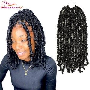 Синтетические состаренные искусственные волосы, вязаные крючком косички, 12 дюймов, прямые короткие волосы в виде бабочки, ручная работа для черных женщин