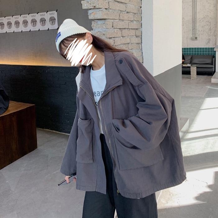 fashion brand long sleeve zipper Spring autumn black Jackets turn-down collar cardigans Harajuku style Womens Clothing tops