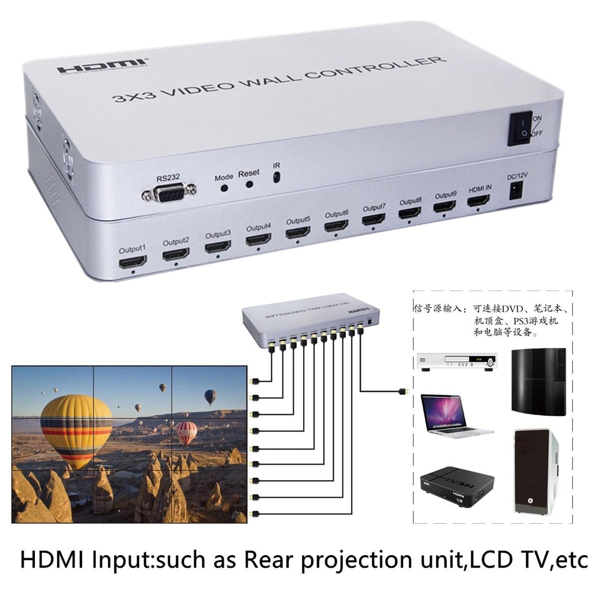 1080P HDMI видео настенный контроль Лер 3x3 HD ЖК ТВ настенный процессор 1x9 Hdmi разъем RS232 управление для HD ТВ аудио видео дисплей