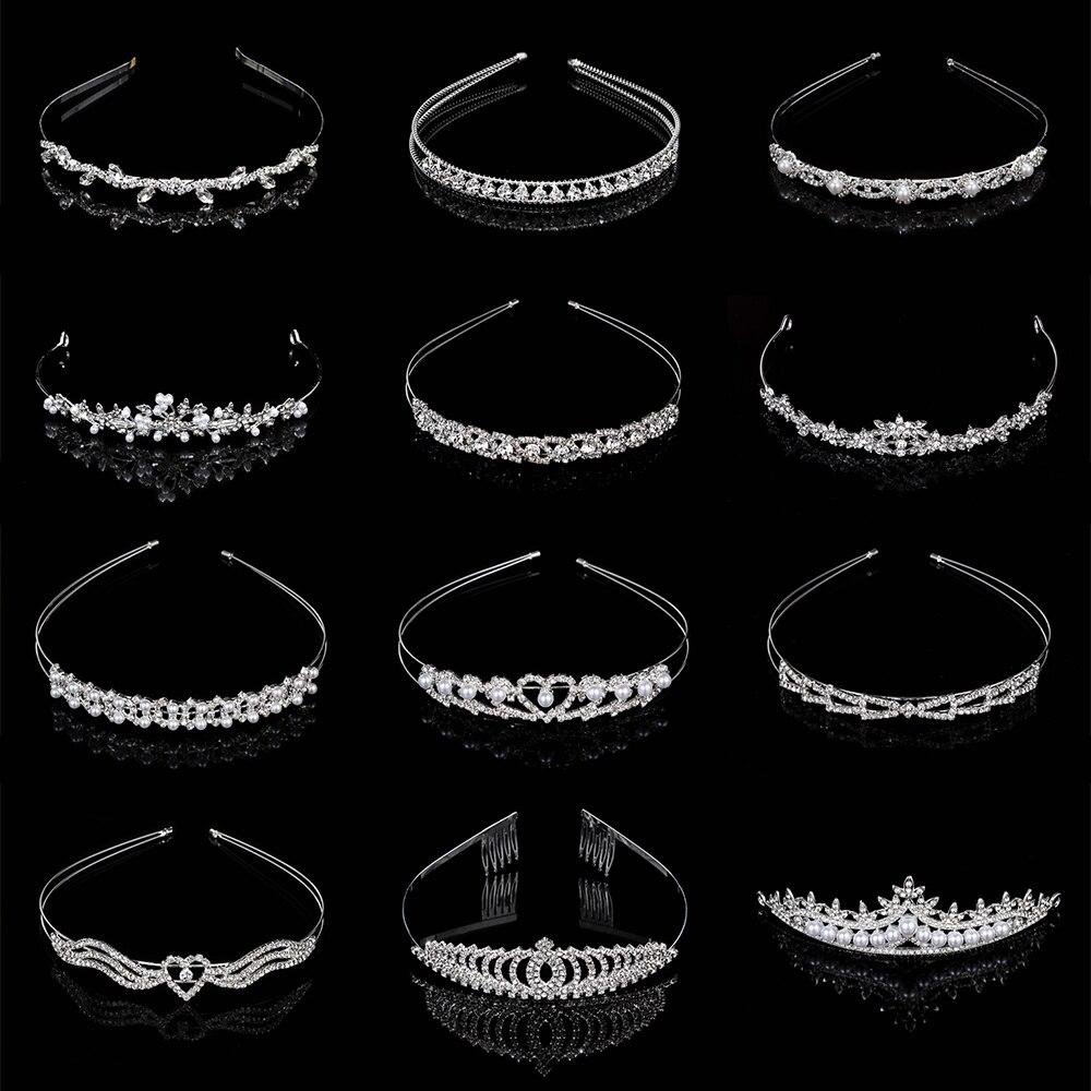 1PC Crown Crystal Rhinestone Pearl Headband Wedding Bridal Silver Hairwear Party Girls Tiara Flower Hair Bands Hair Accessories