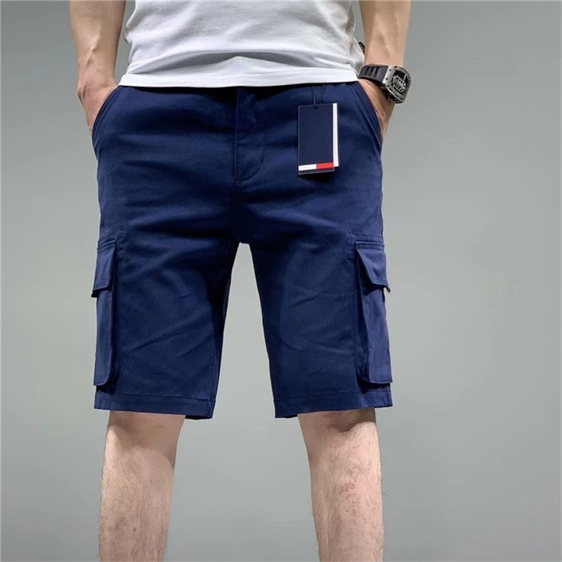 21 summer new men's large embroidery letters leisure sports Multi Pocket solid color tooling shorts