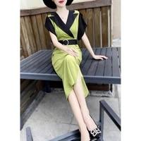 2021 summer dress suit collar women temperament dresses shorts sleeves contrast stitching midi dress with belt female plus size