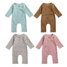 2020 Autumn Spring Newborn Baby Girls Boys Clothes Toddler Long Sleeve Solid Color Romper Infant Sin