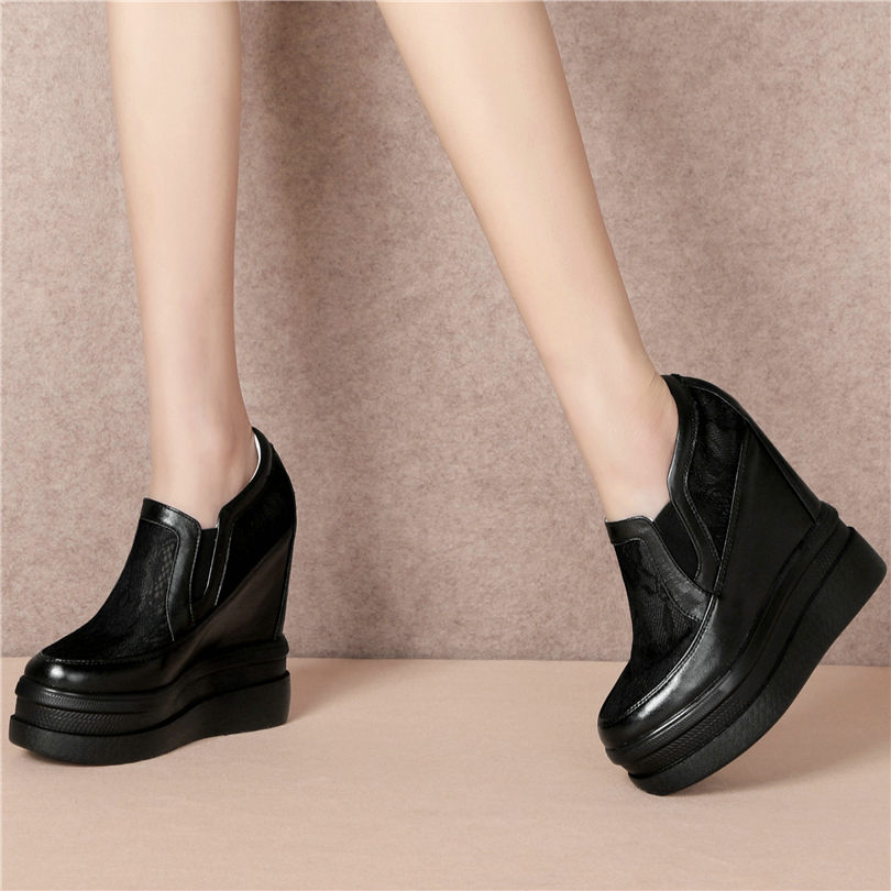 Black White Women Cow Leather Platform Wedges Sports Sandals Summer Breathable Super High Heel Pumps Round Toe Fashion Sneakers  - buy with discount