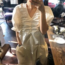 Chic Vintage Pleated Dress Women Loose Puff Sleeve V-neck Large Pockets Dresses Blak Big Swing Dress Female my230