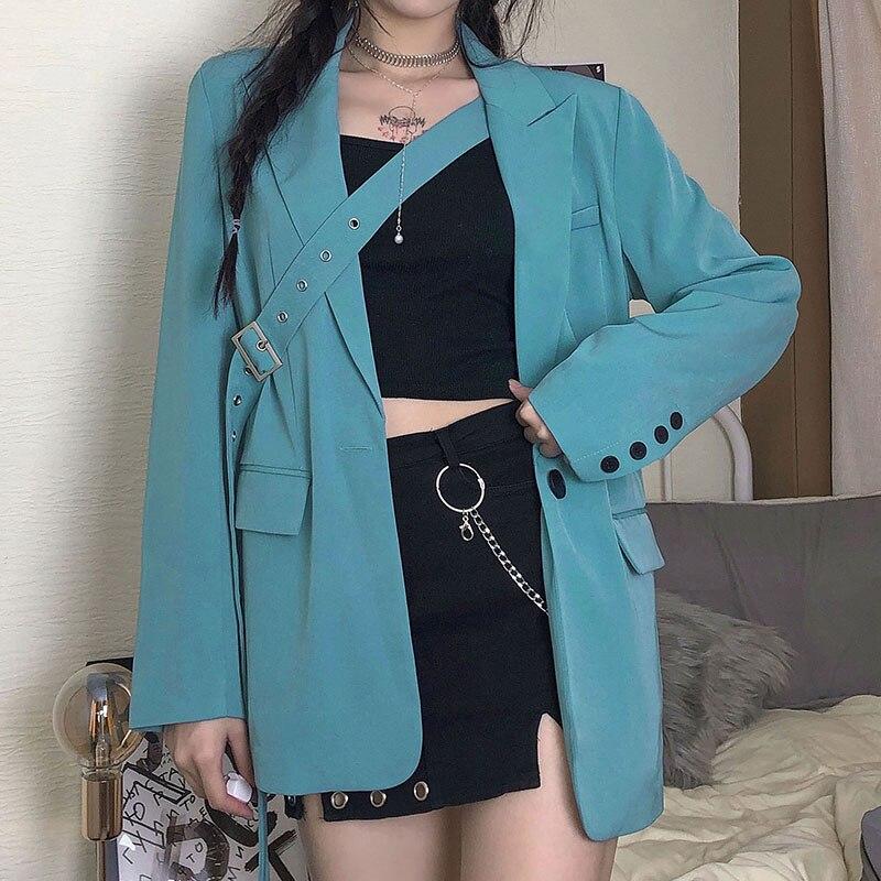Fashion Korean Solid Long Basic Jacket Buttons Loose Elegant Autumn Winter Coat Female Jackets with