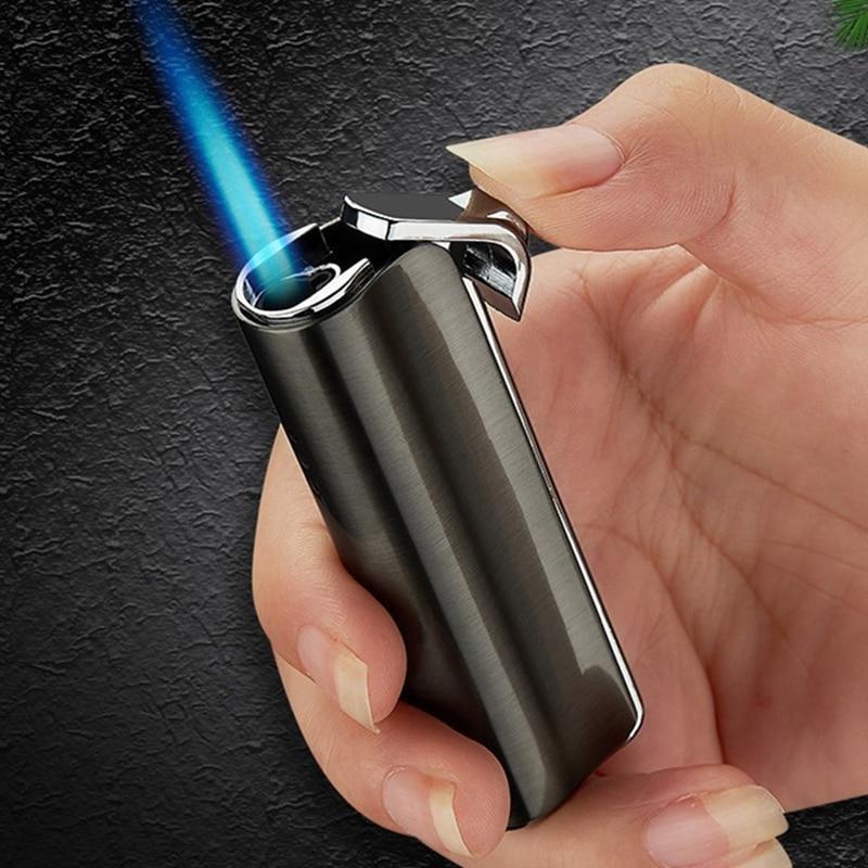 À prova de vento gás jet mais leve butano turbo tocha isqueiro para charuto cigarro metal 1300 c fogo isqueiro inflado gadget para o homem