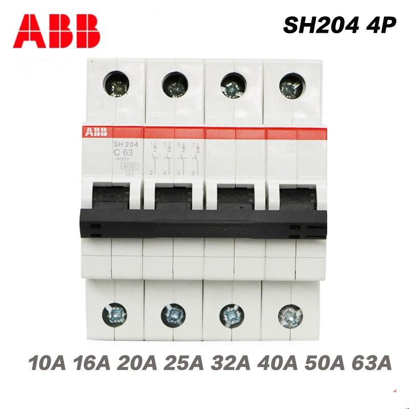 ABB eléctrico SH204 toda la serie MCB disyuntor en miniatura de interruptor automático de aire 4P C10A 16A 20A 25A 32A 40A 50A 63A