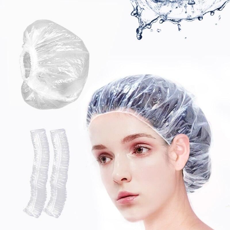 100 pcs Waterproof PE Disposable Shower Caps Barbershop Hotel Beauty Salon Hair Dressing Dyeing One-