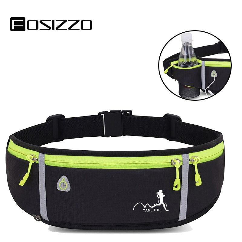 FOSIZZO, bolsa de plátano para hombres, cinturón para correr, cinturón de entrenamiento con soporte para botella, soporte para auriculares, bolsa para hombres y mujeres FS5027