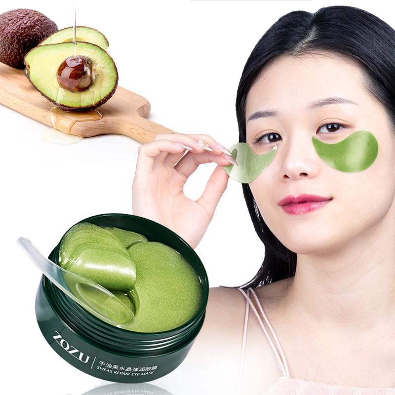 60 Pcs Avocado Collagen Mask Natural Moisturizing Gel Eye Patches Remove Dark Circles Anti Age Bag E
