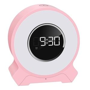 Digital Alarm Clock Bluetooth Speaker,Small LED Desk Bedside with LCD Display FM Radio Night Light,Suports TF Card & AUX
