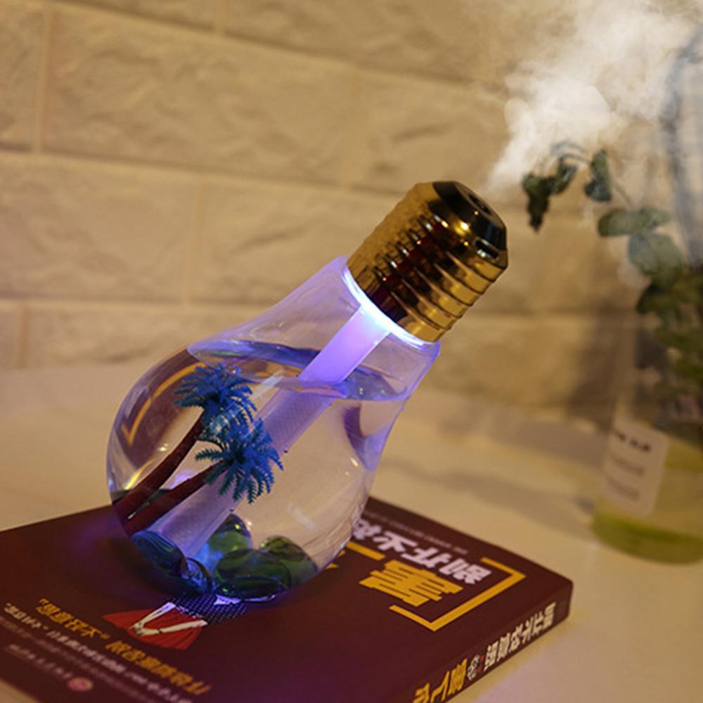 Creative USB Bottle Bulb Humidifier Ultrasonic Humidifier LED Night Light Mini Aroma Diffuser Aromatherapy for Home elephant humidifier usb charging colorful night light mini humidifier aromatherapy machine