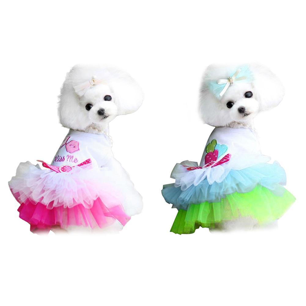 Hot Sale Summer Pet Dog  Puppy Lip Dress Clothes T-shirt Breathable Lace Costume
