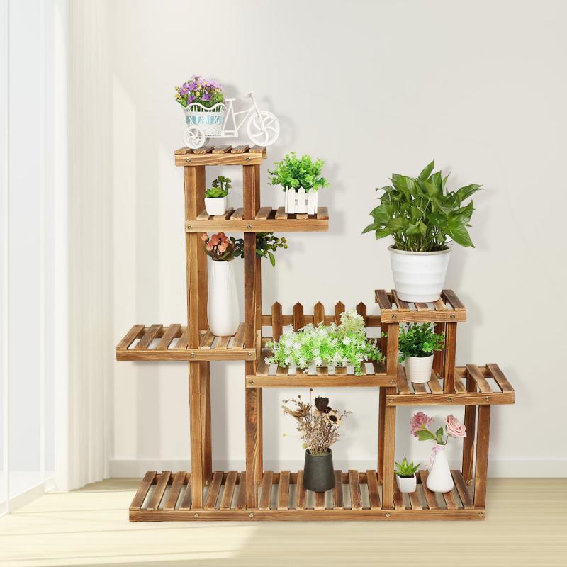 Стеллаж для цветов, многоуровневый держатель для растений, деревянные полки для балкона, стеллаж для цветов, стеллаж для сада, гостиной, бон...