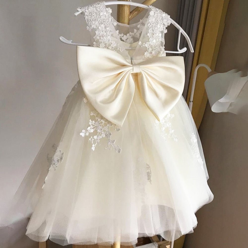 Ivory Lace Flower GIrl Dresses Tulle Puffy Princess Dress Gril Satin Bow Net First Communion Dresses Little Girl Birthday Dress