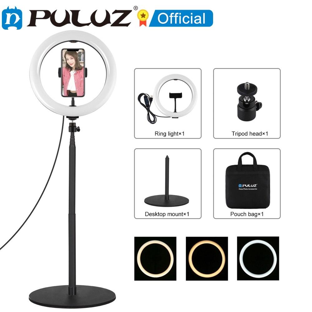 PULUZ-Anillo de luz LED para escritorio kit de luz de video Zapata...