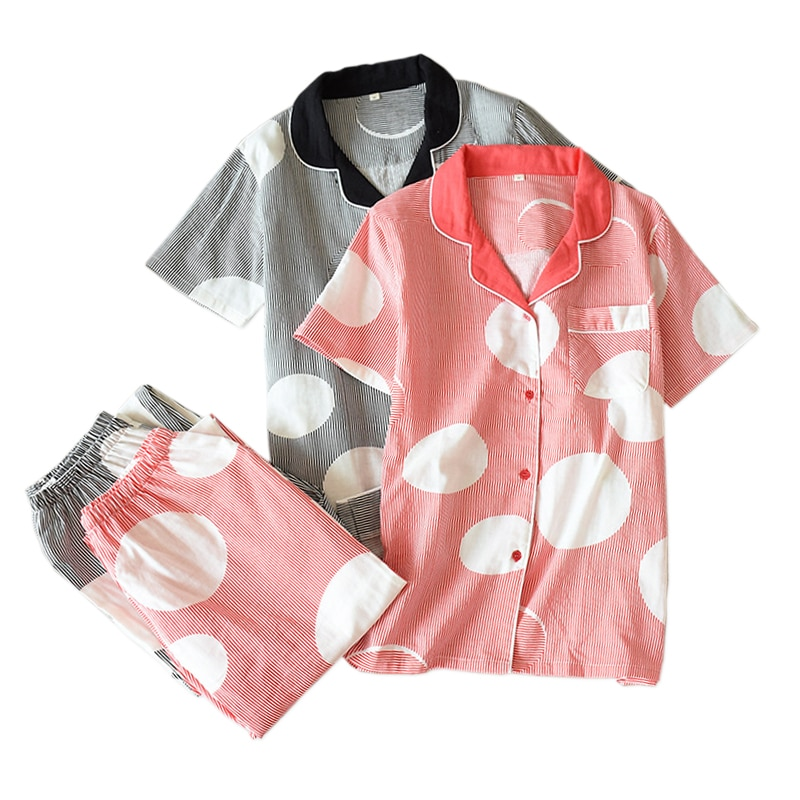 Pijamas frescos de manga corta de verano para mujer, ropa de dormir 100% de gasa de algodón para mujer, pijamas casuales japoneses, ropa de casa para mujer, gran oferta