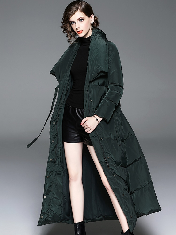 2021 New Winter Fashion Duck Down Coat For Women Thick Outwear Ladies Jackets Parka X-Long Maxi Ankle Length Green Black XXL 2XL