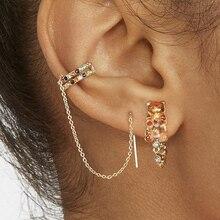 Bohemia Trendy Long Chain Stud Earrings for Women Fashion shaped Rhinestone CZ Earcuff Statement Studs Vintage Jewelry