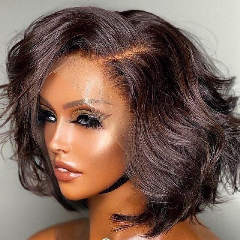 Body Wave 13x6 Lace Frontal Wigs Human Hair Short Bob Wig 13x4 Closure Wig 180 Density For Black Women Brazilian Remy Hair