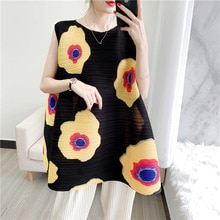 2020 Summer New Miyake Pleated Dress Women's Short Style Sleeveless Printed Loose and Plus-sized Women's Dresses Vestidos Summer