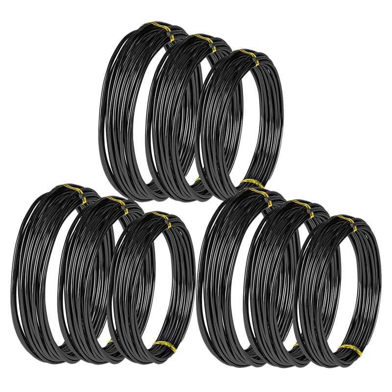 9 рулонов проводов бонсай, анодированный алюминий, тренировочная проволока бонсай с 3 размерами (1,0 мм, 1,5 мм, 2,0 мм), всего 147 футов (черный)