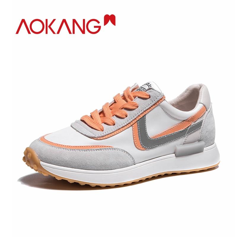 AOKANG-حذاء رياضي نسائي بنعل سميك ، حذاء رياضي مريح ومسامي ، غير رسمي ، خريف