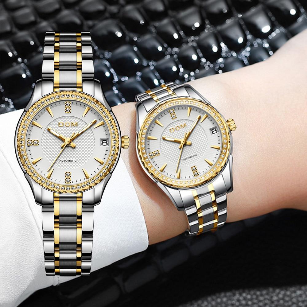 DOM automatic mechanical watch female watch sports men's watch waterproof stainless steel luminous fashion couple watch business